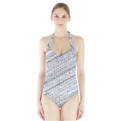 Silver Abstract And Stripes Women s Halter One Piece Swimsuit