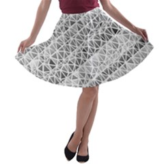 Silver Abstract And Stripes A Line Skater Skirt
