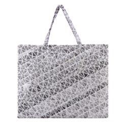 Silver abstract and Stripes Zipper Large Tote Bag