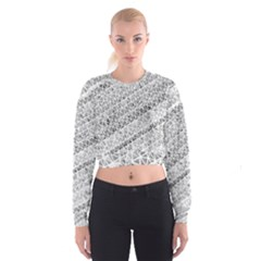 Silver abstract and Stripes Women s Cropped Sweatshirt