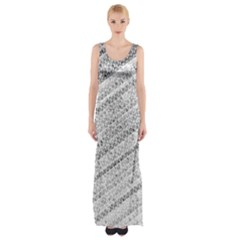 Silver Abstract And Stripes Maxi Thigh Split Dress