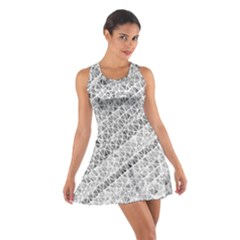 Silver abstract and Stripes Racerback Dresses
