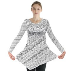 Silver abstract and Stripes Long Sleeve Tunic