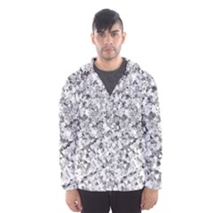 Silver Abstract Design Hooded Wind Breaker (Men)