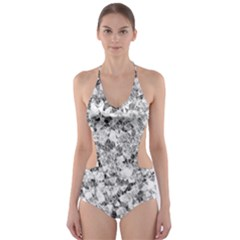 Silver Abstract Design Cut Out One Piece Swimsuit