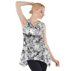 Silver Abstract Design Side Drop Tank Tunic