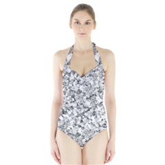 Silver Abstract Design Women s Halter One Piece Swimsuit