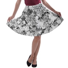 Silver Abstract Design A-line Skater Skirt