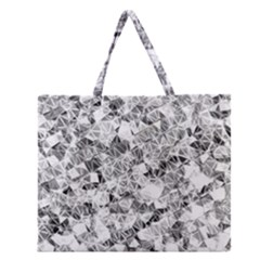 Silver Abstract Design Zipper Large Tote Bag