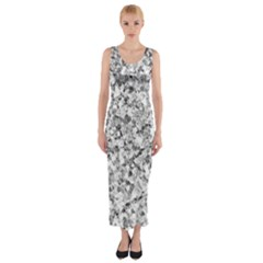 Silver Abstract Design Fitted Maxi Dress
