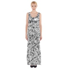 Silver Abstract Design Maxi Thigh Split Dress