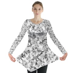 Silver Abstract Design Long Sleeve Tunic