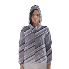 Elegant Silver Metallic Stripe Design Hooded Wind Breaker (Women)