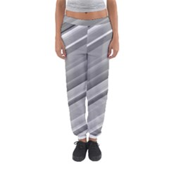 Elegant Silver Metallic Stripe Design Women s Jogger Sweatpants