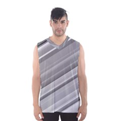 Elegant Silver Metallic Stripe Design Men s Basketball Tank Top