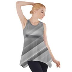 Elegant Silver Metallic Stripe Design Side Drop Tank Tunic