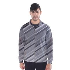 Elegant Silver Metallic Stripe Design Wind Breaker (Men)