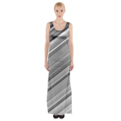 Elegant Silver Metallic Stripe Design Maxi Thigh Split Dress