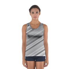 Elegant Silver Metallic Stripe Design Tops