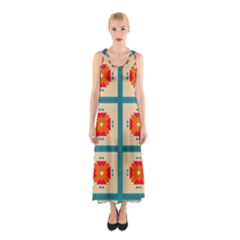 Shapes in squares pattern Full Print Maxi Dress