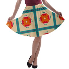 Shapes in squares pattern A-line Skater Skirt