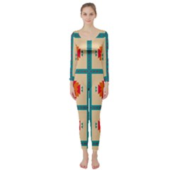 Shapes In Squares Pattern  Long Sleeve Catsuit