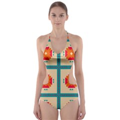 Shapes in squares pattern Cut-Out One Piece Swimsuit