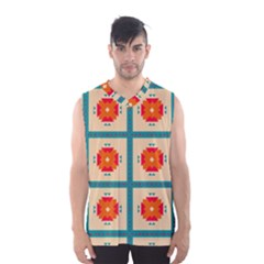 Shapes In Squares Pattern Men s Basketball Tank Top