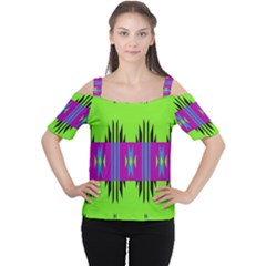 Tribal shapes on a green background Women s Cutout Shoulder Tee