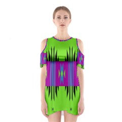 Tribal Shapes On A Green Background Women s Cutout Shoulder Dress