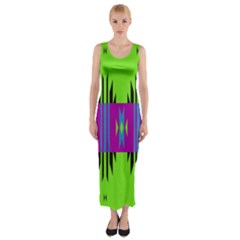 Tribal shapes on a green background Fitted Maxi Dress