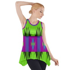 Tribal shapes on a green background Side Drop Tank Tunic