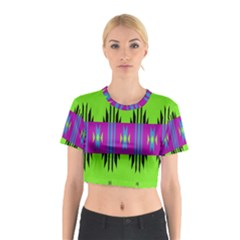 Tribal shapes on a green background Cotton Crop Top