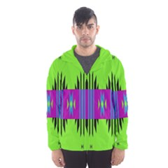 Tribal Shapes On A Green Background Mesh Lined Wind Breaker (men)