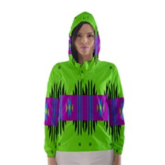 Tribal Shapes On A Green Background Hooded Wind Breaker (women)