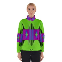 Tribal Shapes On A Green Background Winter Jacket