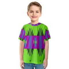 Tribal shapes on a green background Kid s Sport Mesh Tee