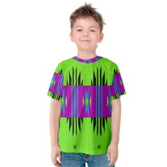 Tribal shapes on a green background Kid s Cotton Tee