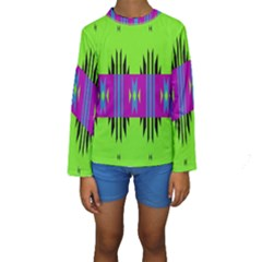 Tribal shapes on a green background  Kid s Long Sleeve Swimwear