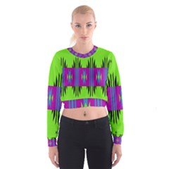 Tribal shapes on a green background   Women s Cropped Sweatshirt