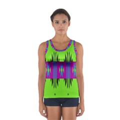 Tribal shapes on a green background Women s Sport Tank Top