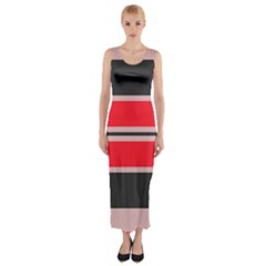 Rectangles In Retro Colors  Fitted Maxi Dress