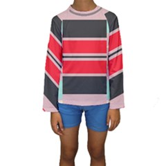 Rectangles in retro colors   Kid s Long Sleeve Swimwear