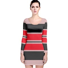 Rectangles in retro colors  Long Sleeve Velvet Bodycon Dress