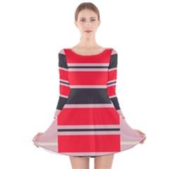 Rectangles in retro colors  Long Sleeve Velvet Skater Dress