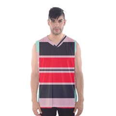 Rectangles in retro colors  Men s Basketball Tank Top