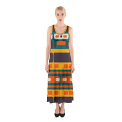 Rectangles In Retro Colors Texture Full Print Maxi Dress