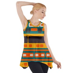 Rectangles in retro colors texture Side Drop Tank Tunic