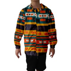 Rectangles in retro colors texture Hooded Wind Breaker (Kids)