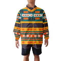 Rectangles in retro colors texture Wind Breaker (Kids)